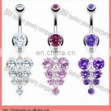 dangle crystal grape belly rings navel jewelry body piercing