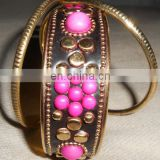 Beautifully Fuschia Colour Floral Brass Bangles