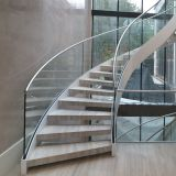 Best Selling Curved Glass Staircase with Solid Oak Wood Treads / Indoor Wood Staircase