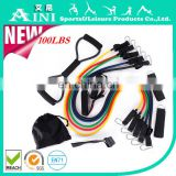 2016 Eco-friendly best quality hotsale 11pcs resistance band set,exercise with resistance bands,leg resisttancetube