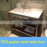 floor standing vanity set with stainless steel satin base