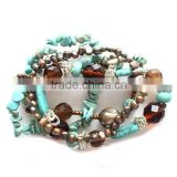 High quality handmade multilayer beaded turquoise bracelets for women wholesale vogue pearl jewelry