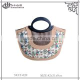 Fashionabel Cute Style Printed PU Leather Stitching Canvas Tote Bag with PVC Handle
