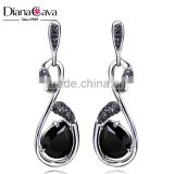 Daily Wear Casual Style Silver Pins Jet Black Cubic Zirconia Party Jewelry Drop Earrings
