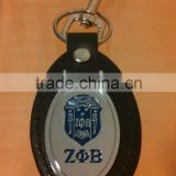 custom metal leather keychain / oval THE ZETA PHI BETA sigma registry engraved enamel leather metal key fob key ring