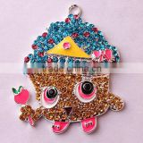 Wow!! 2016 Fashion Cheap Large chunky alloy fruit rhinestone cartoon jewelry pendants for kids necklaces making!