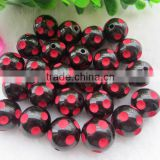 Fashion Large Big Size Polka Dot Beads, 20MM Round Acrylic Resin Dip Dot Beads, Black Halloween Rec dot Resin Beads for Jewelry