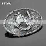 3D Horseshoe Shaped Zinc Alloy Plated Antique Tin Bulk Embossed Horse Metal Belt Buckle