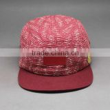 DESIGN YOUR OWN BLANK LEATHER PATCH 5 PANEL SNAPBACK HAT WHOLESALE