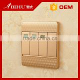 China best seller BIHU gold color flat control panel electrical sockets and switches wall light switch