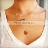 Fashion Sequin Pendant Mutil Layers Choker Chunky Statement Bib Chain Necklace Pendant Jewelry