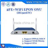 High Performance 2FE+WiFi EPON ONU Wireless Router WiFi Modem for FTTH Network System Made in China