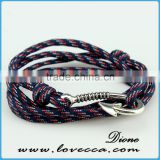 Hot fashion Anchor or Fish Hook Bracelet Cotton Rope Mens anchor bracelet wholesale Fashion Jewelry-usa0.6