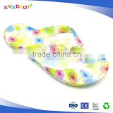 The most special colorful water heat transfer printing flip flops summer fashion shoes girls jelly flat sandals