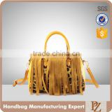 4412 - 2016 High quality fashion lady handbag with leopard animal printed bag with tassel decoration