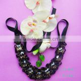 2015 hot sell new fashion lace crystal beaded neck trim made in China