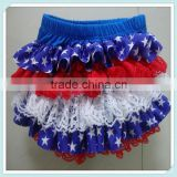 Fashion Infant Outfit Ruffle Baby Girls Satin Bloomer 4th of July Festival Wearing For Kids American flag bloomers