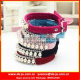 Rhinestone Velvet Fabric Paracord Dog Collar