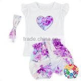 Bulk Wholesale Kids Clothing Flutter Sleeve Top With Ruffle Shorts And Headband Baby Summer Boutique Outfits