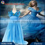 2015 Cosplay Costume Girls Cinderella Butterfly Applique Long Maxi Dress Blue Lace Princess Girls Party Prom Dresses