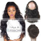 100% Chinese Virgin Human Hair Body Wave 360 Lace Frontal Bleached Knots with Baby Hair 360 Closure
