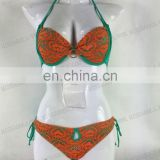 Miss Adola latest orange mesh and solid green transparent bikini swimwear yong women swimwear ( AD72 )