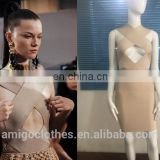 Amigo 2017 fashion beige sleeveless backless cut out cross over bandage dress elegant formal dresses for goddess