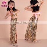 Tribal egyptian style performance children kids belly dance costume suit with bra and skirt ET-077