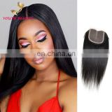 FAST SHIPPING 100% Indian human vrigin hair free part lace closure in silky straight RAW UNPROCESSED HAIR