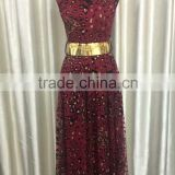2015 fashion gilding leopard printed mesh and mentel around the neck dress with golden belt