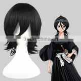 High Quality 35cm Short Straight Bleach Wig Cosplay Kojima Mizuiro Black Synthetic Anime Wig Cosplay Costume Hair Wigs Party Wig