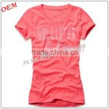 Hot sell Women Round Neck Printing Logo Custom Wholesale Sports Sexy Slim Fit Tee T Shirt