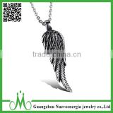 Charm necklace unisex jewelry angel wing stainless steel feather necklace                                                                                                         Supplier's Choice
