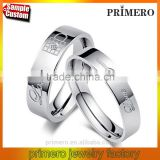White Gold LOCK & KEY Design Engraving Couple Rings Full Stainless Steel Men/Women Romantic Wedding Jewelry