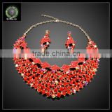 Western fashion jewellery fancy gold plated zinc alloy rhinestone statement necklace turkish jewelry set KHK735