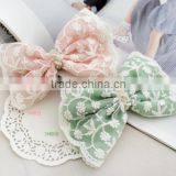 2016 Hotsale Color Pink Green Chiffon Lace Hair Bow With Pearl Center,Girl Lace Bow French Clip For Thick Hair