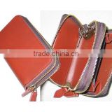 Women Red Leather Zipper Key Wallet with Coin Case