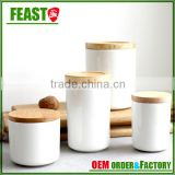 New design ceramic container food storage jar with bamboo lids                                                                         Quality Choice