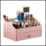 Multi function leather cosmetic bo with mirror Perfume Ring Bo dresser cosmetic storage bo finishing