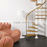 simple save space wood steel spiral stairs/ timber spiral staircase