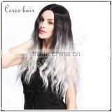 Fashion Gradual Colors Heat Resistant Costumes Wig Ombre Gray Synthetic Wig for Party Long Curly Style                                                                         Quality Choice