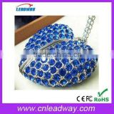 Promotional gift diamond jewelry heart USB memory key free preload files