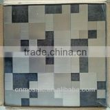 steel color & black25x25,50x50 peel and stick brushed aluminium instant tile for kitchen background wall decoration