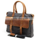 China Suppliers Business Office Waterproof Canvas Genuine Leather Laptop Shoulder Bag office laptop bags