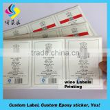 High quality waterproof reverse printed labels,personalized custom print adhesive label maker wine bottles