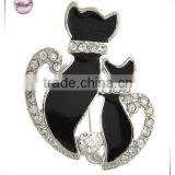 Rhodiumized / Black Epoxy & Clear Rhinestone / Lead&nickel Compliant / Animal / Cats Brooch