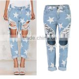 Summer Women Ripped Denim Jean Ladies Middle Waist Loose Fit Stars Printed Vintage Washed Baggy Damaged Jeans Fashion 2016