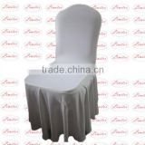 Polyester lycra spandex stretch white with swag umbrella style chair cover for hotel banquet chair wedding chair