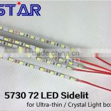 ultra slim 0.5m long SMD5730 72LEDs slim led rigid bar light backlit ,DC 12V 24v input;non-waterproof
