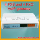4 FXS and 4 FXO VoIP gateway with H.323 and SIP,support calling back system